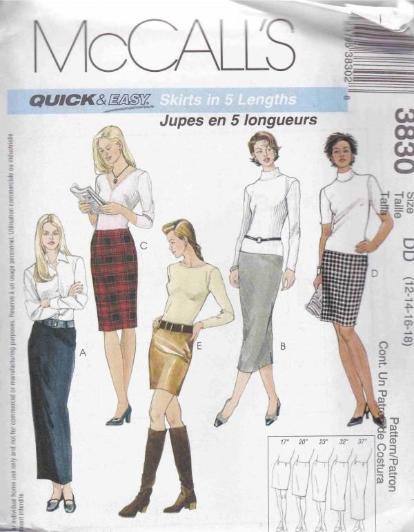 patron couture bas jupe mc call M3830