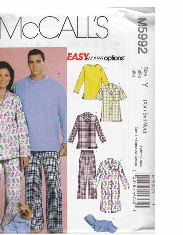patron couture ensemble pyjama mc call M5992
