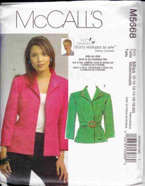 patron couture veste manteaux mc call M5668