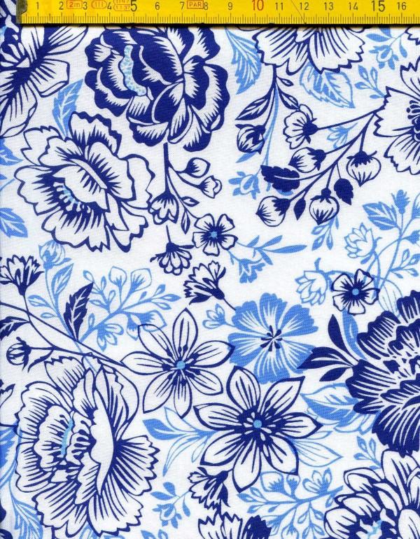 tissu patchwork fleur bleu 001