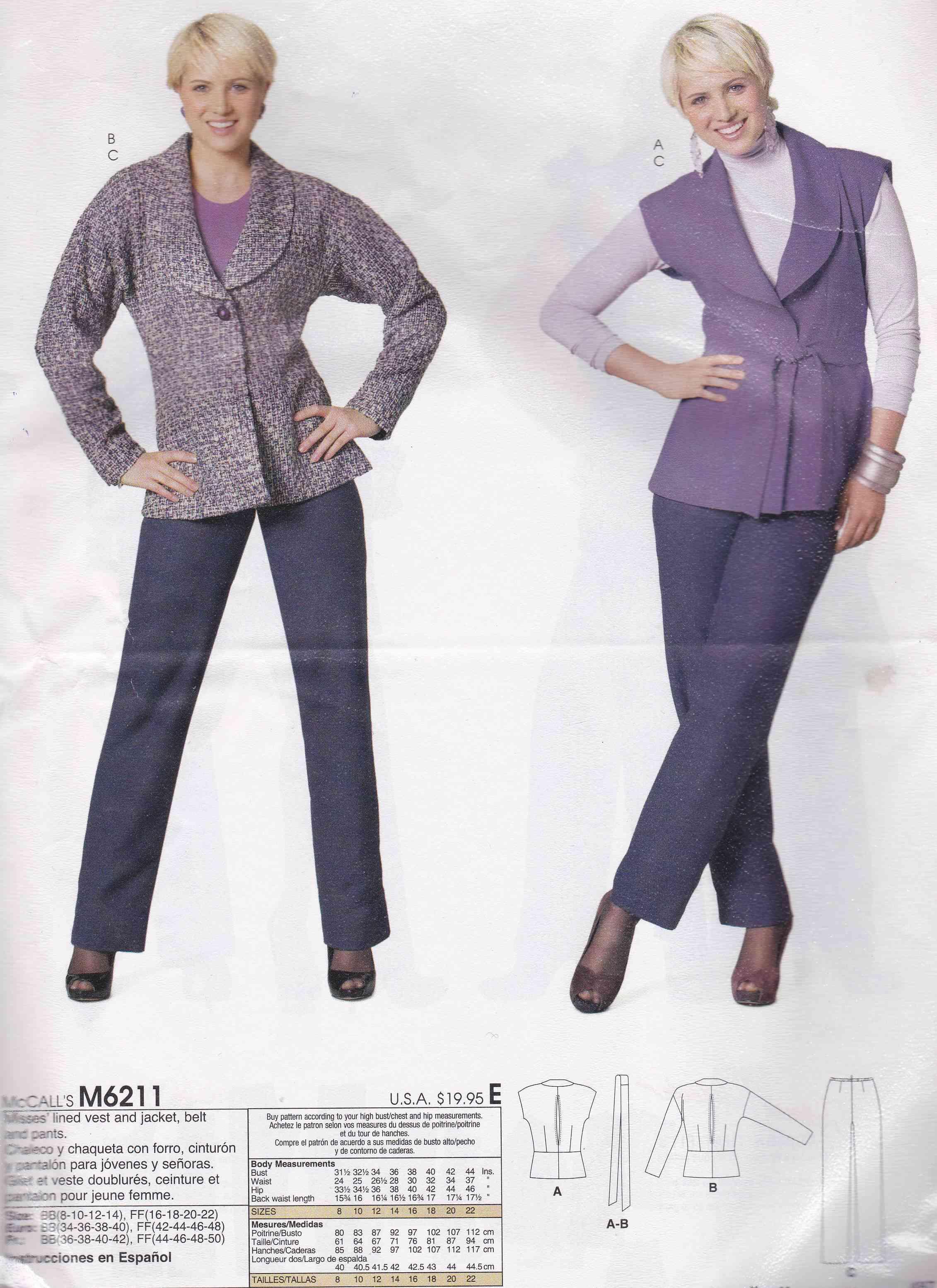double coupon 60% de réduction garantie de haute qualité mc call's 6211 patron couture ensemble tunique veste pantalon femme